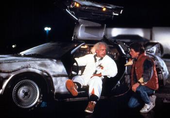 Christopher Lloyd et Michael J. Fox dans le premier volet de Retour vers le futur, sorti en 1985.