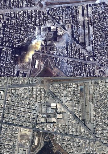 Le quartier de Sakhour dans le nord-est d'Alep, le 23 mai 2014 (en haut) et le 27 novembre 2016 (en bas).
