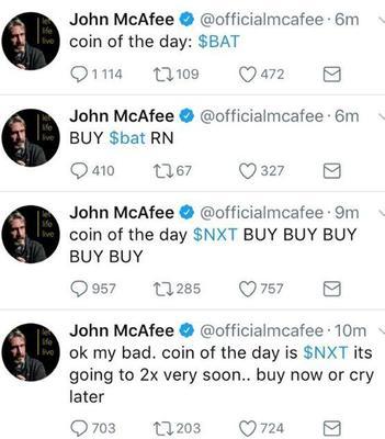 Le compte piraté a été mis à profit pour recommander l'achat de BAT et NXT.