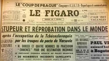 La Une du «Figaro» du 22 août 1968 annonçant l'invasion, la veille, de la Tchécoslovaquie par les troupes du pacte de Varsovie.