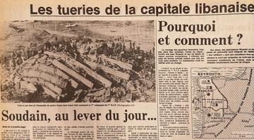 Attentats de Beyrouth d'octobre 1983: Extrait de la page 2 du Figaro du 24-10-1983, avec une photo figurant ce qu'il reste de l'immeuble «le Drakkar».