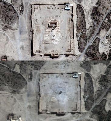 ©AFP. Les images satellites du temple de Bêl, à Palmyre, prises le 27 août <i>(en haut)</i>et le 31 août 2015 <i>(en bas).</i>