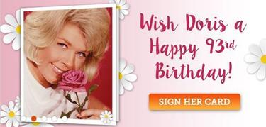 Image que l'on peut voir sur le site de la fondation de l'actrice:«Souhaitez un joyeux 93è anniversaire à Doris»