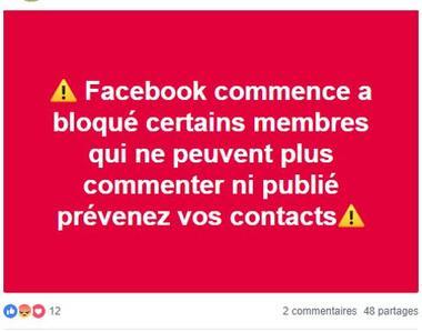 Un message publié sur un groupe de «gilets jaunes» et affirmant que des comptes de sympathisants ont été bloqués par Facebook.
