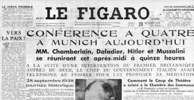 Une du Figaro du 29 septembre 1938 annonçant la conférence de Munich.