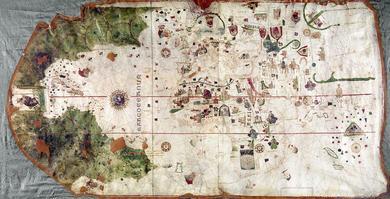 Carte du monde de 1500 de Juan de la Cosa, navigateur à bord du navire «La Nina» de Christophe Colomb .