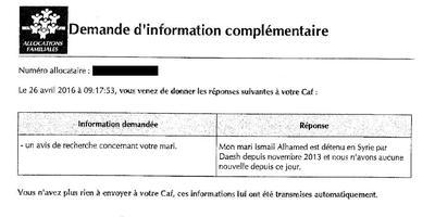 Extrait d'une demande de justificatif à Zubaida Alhamed par la CAF le 26 avril 2016. DR.