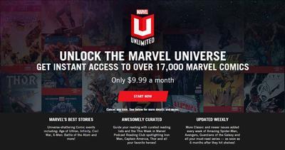 Page d'accueil de Marvel Unlimited (capture d'écran)