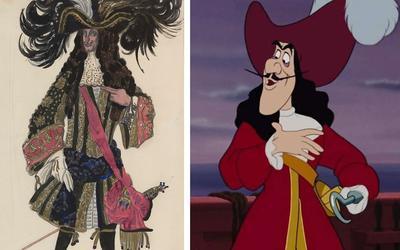 À gauche le dessin de Bakst, à droite le capitaine Crochet de Walt Disney