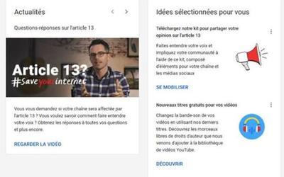 L'interface d'un Youtubeur avec des éléments autour de l'article 13.