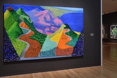 <i>Pacific Coast Highway and Santa Monica</i> de David Hockney lors d'une vente chez Sotheby''s à New York en mai 2018.