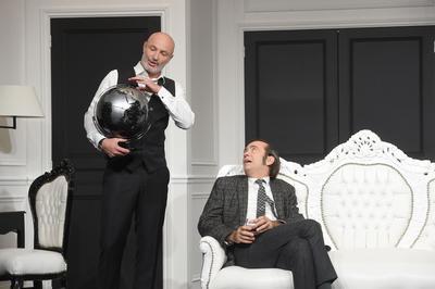 Frank Leboeuf et Thierry Samitier sur scène.