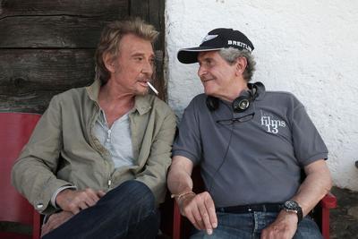 Johnny Hallyday et le réalisateur Claude Lelouch sur le tournage de «Salaud on t'aime» en 2014.