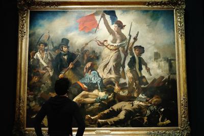 «La Liberté guidant le peuple» d'Eugène Delacroix. Le tableau mesure 260 cm de haut sur 325 cm de large.