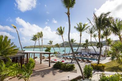 La terrasse du Sereno, 5 étoiles de la plage de Grand Cul-de-Sac, dans le nord-est de l'île.