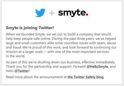 Le site de Smyte est fermé et annonce le rachat par Twitter.