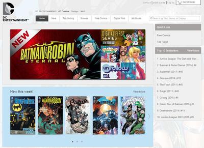 Accueil du site de DC (capture d'écran)