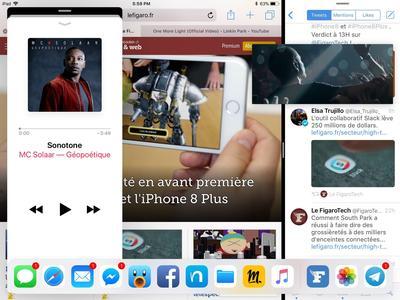 L'iPad peut gérer jusqu'à quatre applications simultanément.