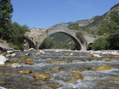 Le pont est dit «à dos d'âne». L'élévation au centre permet de répartir le poids vers les côtés