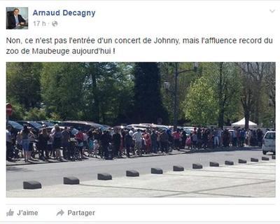 Le maire de Maubeuge lance une petite pique au chanteur sur sa page FacebooK.