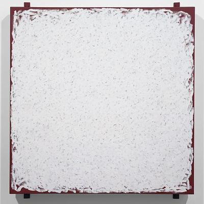 Robert Ryman, «Manager», 1980, huile sur toile de lin avec quatre tendeurs de métal (82.6 cm x 76.2 cm).