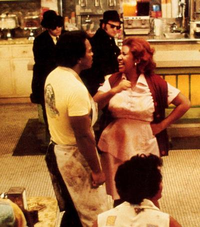 Aretha Franklin en 1980 sur le plateau du film <i>The Blues Brothers </i>