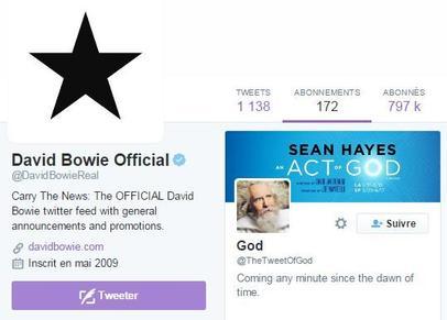 Le dernier abonnement de David Bowie sur Twitter.