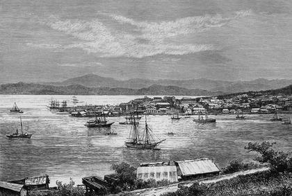 La rade de l'actuel Nouméa, au XIXe siècle.