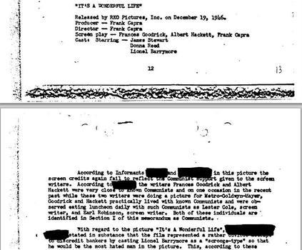 La note du FBI sur «l'infiltration communiste» dans l'industrie cinématographique».