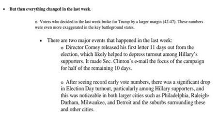 «Mais tout a changé dans la dernière semaine»: extrait du mémo «Pourquoi nous avons perdu» de l'état-major de Clinton.