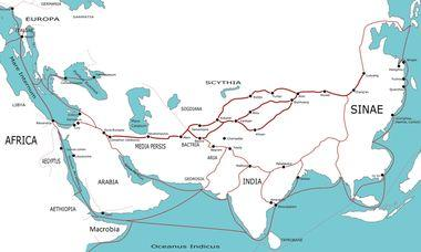 Les principales routes de la soie entre 500 av. J.-C. et 500 ap. J.-C. (crédit Wikipedia)