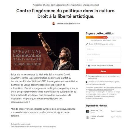 Capture d'écran de la page de la pétition.