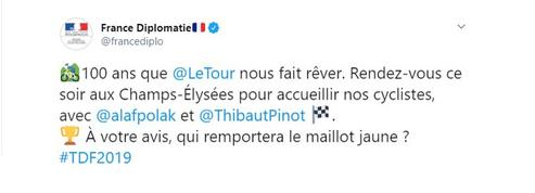 Tour de France: la boulette du Ministère des Affaires Etrangères sur Twitter