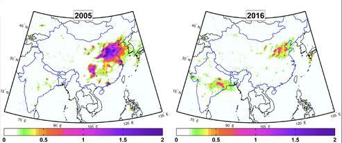 Simulation de la concentration de dioxyde de soufre en Inde et en Chine.