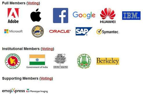 Les membres du Consortium Unicode dotés d'un pouvoir décisionnaire.