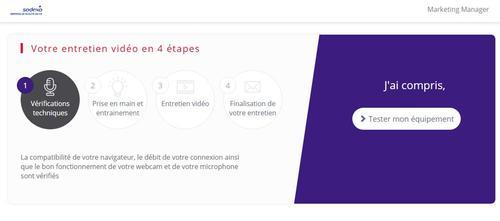 Capture d'écran du site Sodexo expliquant le déroulement de l'entretien vidéo différé