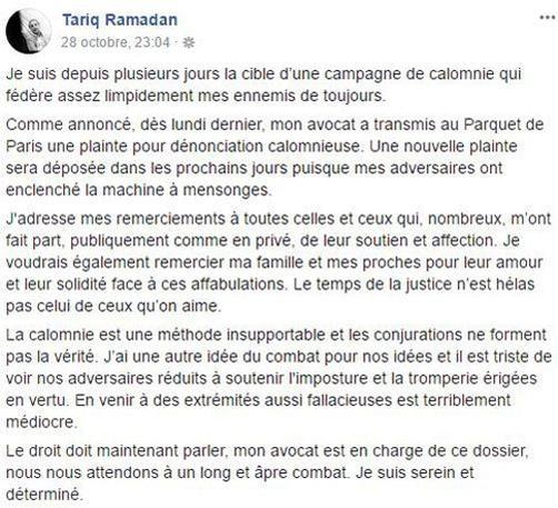 Capture d'écran du message publié le 30 octobre 2017 sur Facebook par Tariq Ramadan.