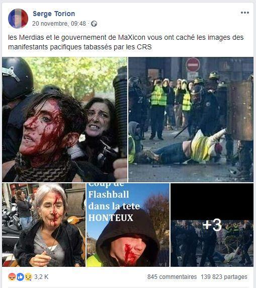 Ce message Facebook diffusant sept images présentées comme «cachées» par les médias a été partagé 140.000 fois.