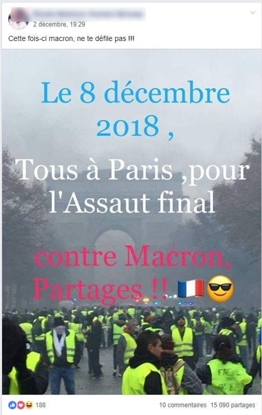 Un message sous forme de photo invitant à un «assaut final» à Paris, partagé plus de 15.000 fois.