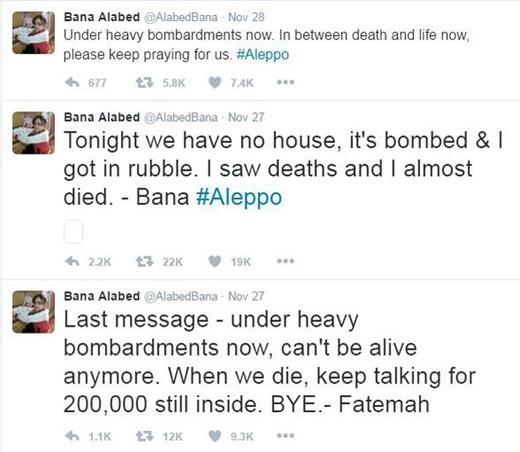 Des messages postés par Bana Alabed pendant des bombardements.