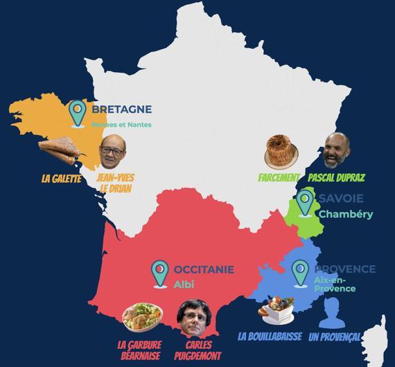 Si les régions étaient des états indépendants (Capitales, présidents et plats nationaux selon les mouvements indépendantistes)
