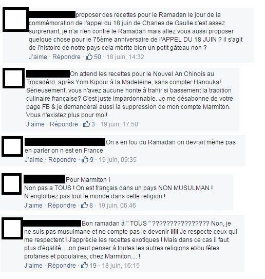 Commentaires issus de la page Facebook du site Marmiton.org.