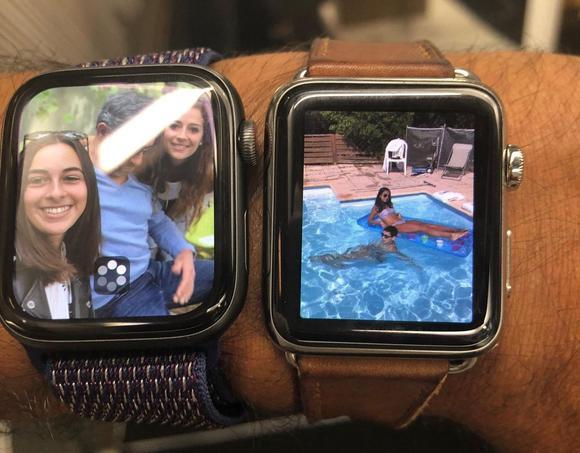 Comparaison de la nouvelle Apple Watch (à gauche) avec un ancien modèle