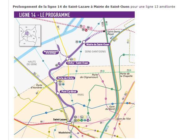 Le plan du prolongement par le nord de la ligne 14 - capture d'écran du site Internet de la RATP