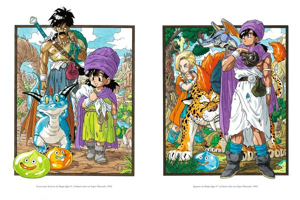 Dragon Quest V: la Fiancée céleste, l'un des numéros les plus populaires de la saga. À gauche la couverture du livret, à droite la jaquette du jeu. Le bestiaire d'Akira Toriyama est emblématique de la saga.