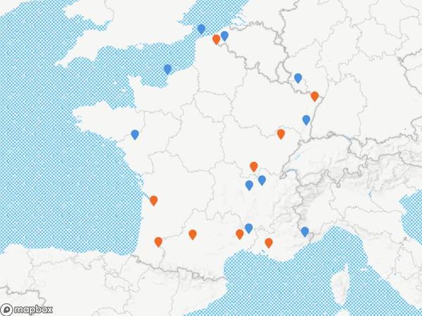 En orange, les villes concernées par les premiers déploiements d'effectifs, qui débutent ce mois-ci. En bleu, celles dans lesquelles le dispositif se mettra en place entre janvier et septembre prochains.