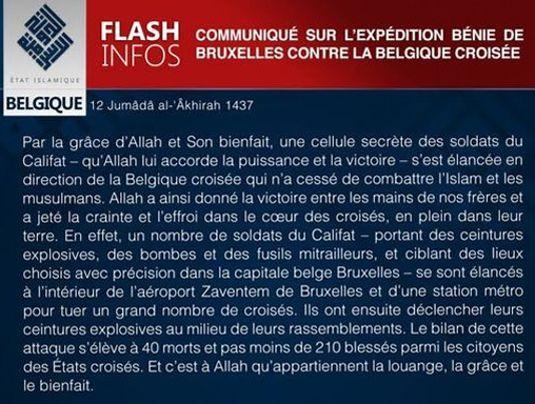 Extrait du communiqué publié par l'État islamique le jour des attentats de Bruxelles, le 22 mars 2016.