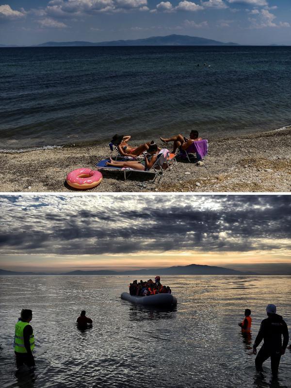 En haut, sur la plage de Mytilene, le 3 août 2018. Dessous, une arrivée d'un bateau de réfugiés, le 23 février 2016.