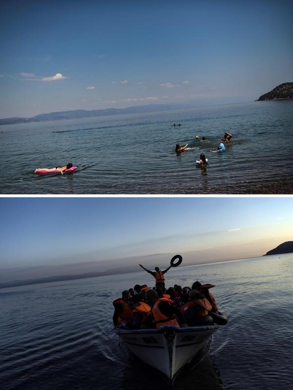 Également à proximité de Skala Sykamineas. En haut, un cliché datant du 3 août. En bas, une arrivée de migrants le 27 septembre 2015.
