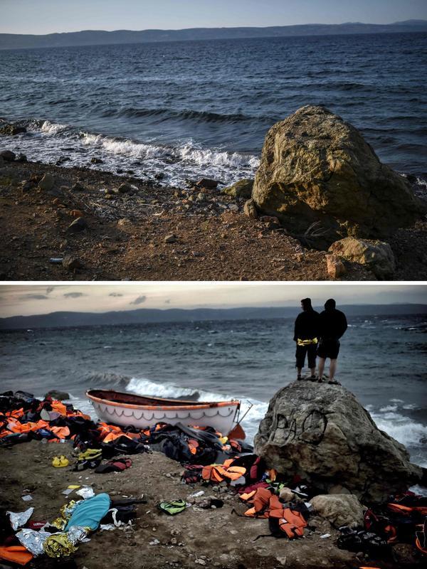 En haut, une plage près du village de Skala Sykamineas, le 3 août dernier. Dessous, le même lieu photographié le 30 octobre 2015. Le corps d'un homme y était couvert après le naufrage d'un bateau de réfugiés ayant tenté la traversée.
